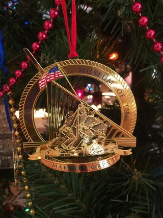 This is one of my most recent Marine Corps ornaments from the Museum of the Marine  Corps with the flag raising at Iwo Jima on it. - Major Knitter's Boot Camp: Why There Are NO Toy Soldiers On My