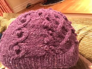 Purple cabobbles hat