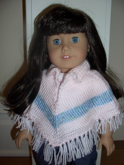 Major Knitter: Collared Pink & Blue Striped American Girl Doll Poncho
