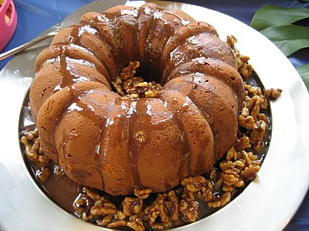 Pumpkin Pound Cake with Walnut Maple Sauce