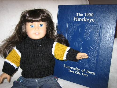 The Alma Mater Sweater for the American Girl Doll - Knit from the Top Down
