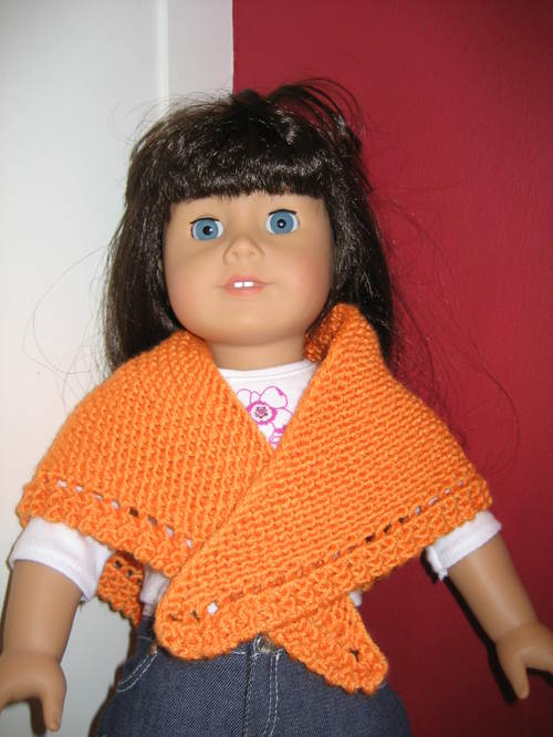 FREE KNITTING PATTERNS: American Girl Doll Triangular Shawl with Eyelet