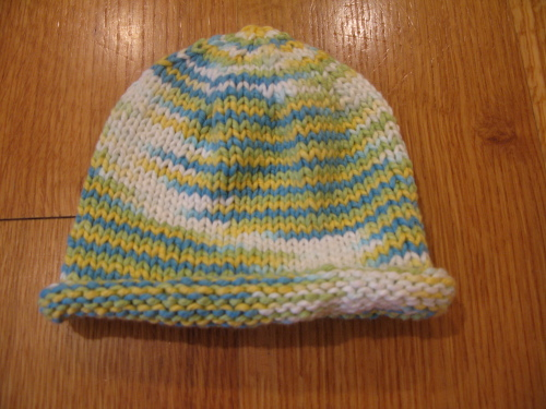 Basic Newborn Baby Hat with Rolled Brim