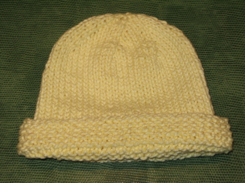 Basic Newborn Baby Hat with Garter Stitch Edge